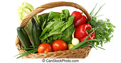 korg, med, grönsaken