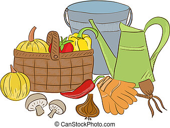 korg, redskapen, skörd, trädgård, illustration