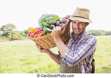 korg, veg, bärande, bonde
