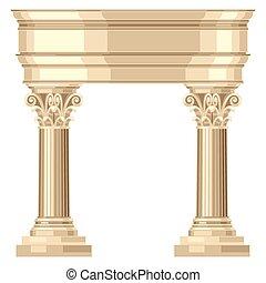 korintský, realistický, antický, řečtina, chrám, s, sloupec
