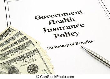 kormány, health biztosítás, politika, és, készpénz