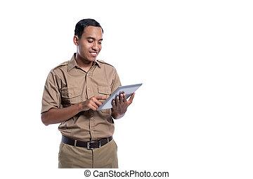 kormány, indonéz, tabletp, használ, számítógép, boldog, munkás
