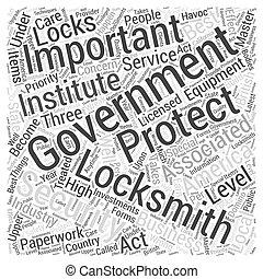 kormány, locksmiths, szó, felhő, fogalom