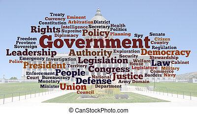 kormány, szó, felhő, fénykép
