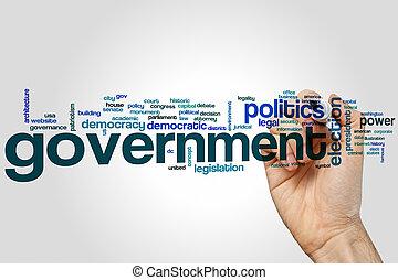 kormány, szó, felhő