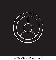 kormánykerék, ikon, húzott, alatt, chalk.