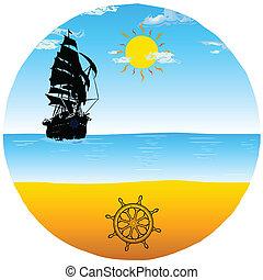 kormánylapát, vektor, tengerpart, csónakázik, ábra