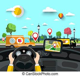 kormányzó, vektor, város utca, gps, navigáció, faszegek, map...