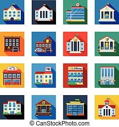 kormányzati épületek, ikonok, alatt, színes, blokkok