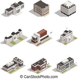 kormányzati épületek, isometric, ikonok, állhatatos