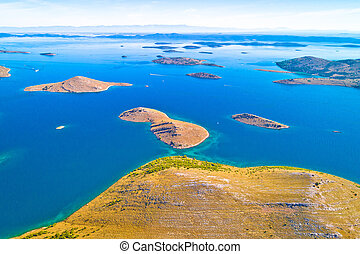 Kornati. Aerial panoramic view of famous Adriatic sea sailing destination, Kornati archipelago national park. Dalmatia region of Croatia