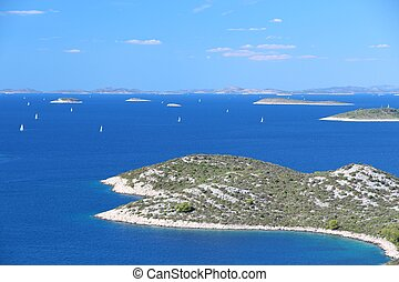 Croatia - Mediterranean coast landscape in Dalmatia. Kornati islands.