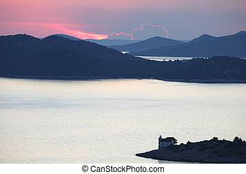 Kornati Islands at sunset, Croatia