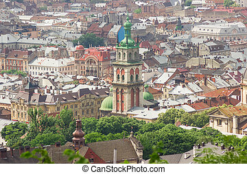 Korniakt Tower and roofs of Old Town in Lviv, Ukraine - View...