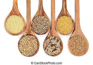 kornsort, og, korn, mad