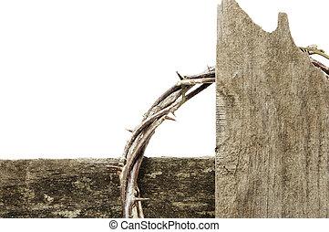 korona cierniowa, i, krzyż