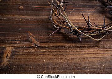 korona cierniowa, na, niejaki, drewniany, tło, -, wielkanoc
