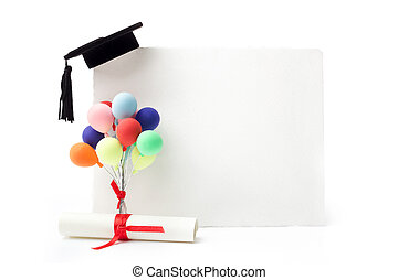 korona, dyplom, skala, czarnoskóry, tablica ogłoszeń, czysty, biały, balony