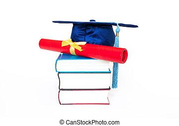 korona, dyplom, skala, odizolowany, książki, tło, biały