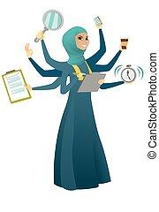 korona, kobieta handlowa, multitasking.