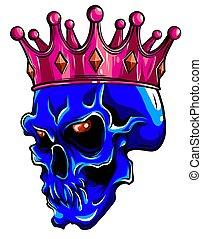 korona, ludzki, ilustracja, róże, śmierć, wektor, czaszka