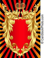korona, mönster, skydda, guld