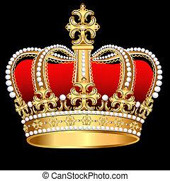 korona, motívum, tsarist, arany, gyöngyszem