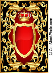 korona, muster, hintergrund, schutzschirm, gold