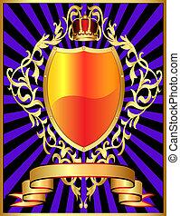 korona, muster, schutzschirm, gold