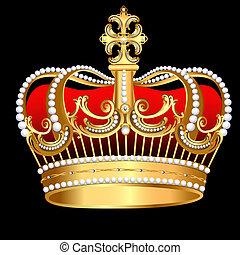 korona, muster, tsarist, gold, perle