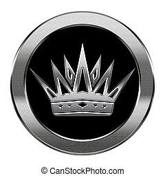 korona, odizolowany, tło., srebro, biały, ikona