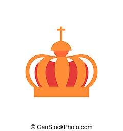 korona, płaski, średniowieczny, ikona, król, styl