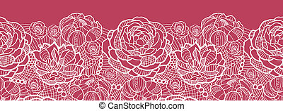 koronka, próbka, seamless, tło, poziomy, kwiaty, brzeg, czerwony