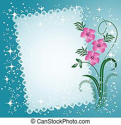 koronkowy, kwiaty, ostrza, serwetka