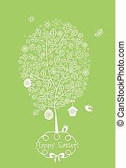 koronkowy, kwiecisty, wielkanoc, drzewo