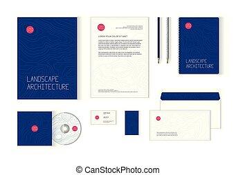 korporative identität, schablone, für, querformatdesign, architektur, firma
