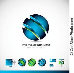 korporatives unternehmen, 3d, kugelförmig, logo
