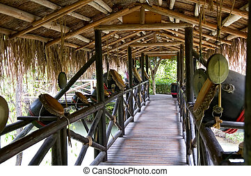 korridor, av, trä bro