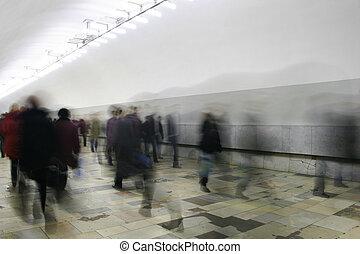 korridor, folkmassa, abstrakt