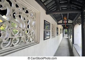 korridor, med, kinesisk, lyktor, hos, den, trädgård, av, den, ödmjuk, administratör, suzhou, porslin
