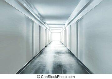 korridor, mit, bewegungszittern