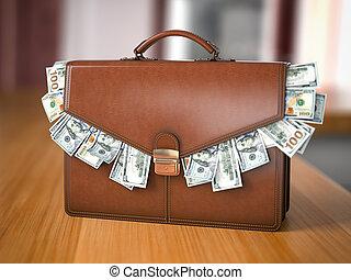 korruption, voll, tauschen, concept., freigestellt, bestechung, finanziell, bestand, aktentasche, mappe, tisch., dollar