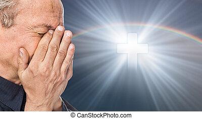 kors, äldre, ansikte, stängd, räcker, man