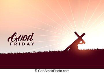kors, bra, bakgrund, kristus, jesus, bärande, fredag, önskar