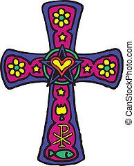 kors, färgrik