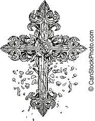 kors, illustration, klassisk