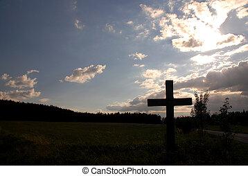 kors, og, solnedgang