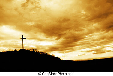 kors, på, den, överträffa av kullen
