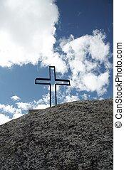 kors, på, den, sten