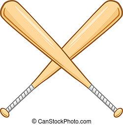 korsat, baseball, två, slagträ